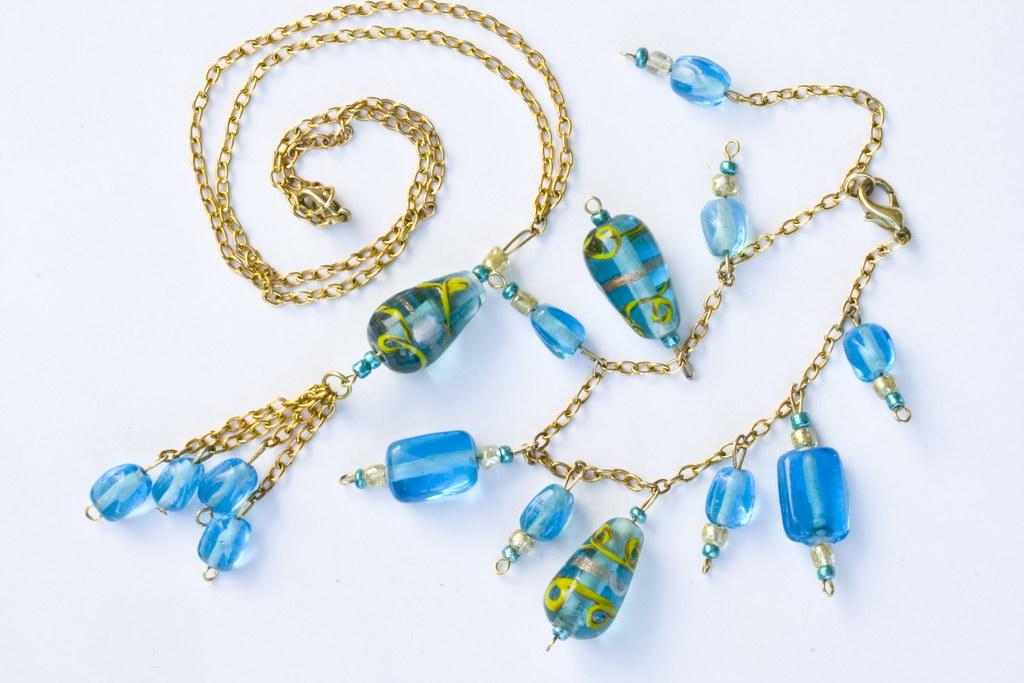 Бижутерия стекло.  Набор из голубого итальянского стекла, эксклюзивон...